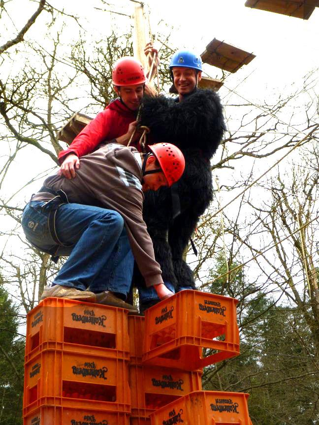 Outdoor Activities - High Ropes in Gloucestershire - Mixed group crate stack in the Forest of Dean