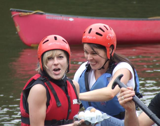 Raft Building Hen Party in Herefordshire